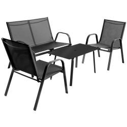 Set Mobilier Vegas Negru pentru gradina si terasa compus din 2 Scaune