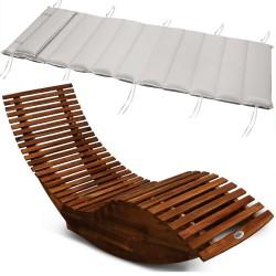 Sezlong ergonomic din lemn de Acacia cu perna sezlong inclusa